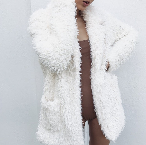 Aspen Fluffy Coat - White