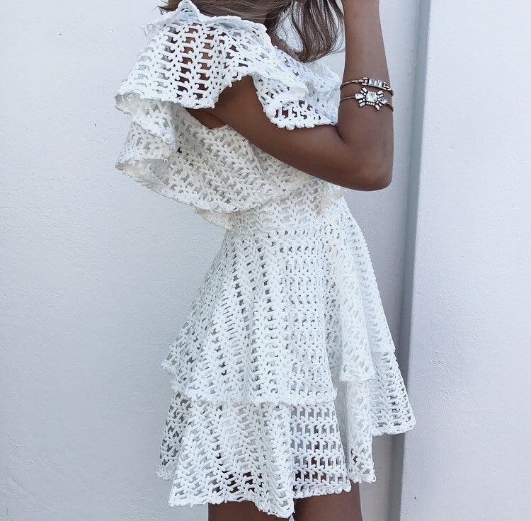 Villa Amour Ruffle Dress - White