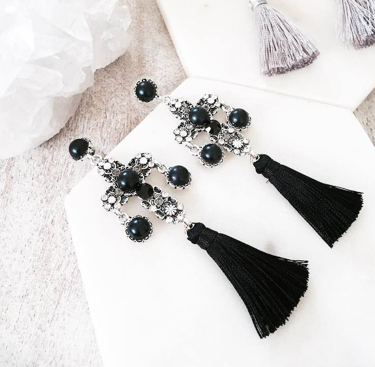 Worship Tassel Earrings - Black