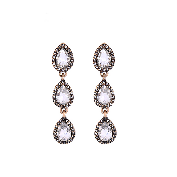 Tiny Teardrop Earrings - Clear