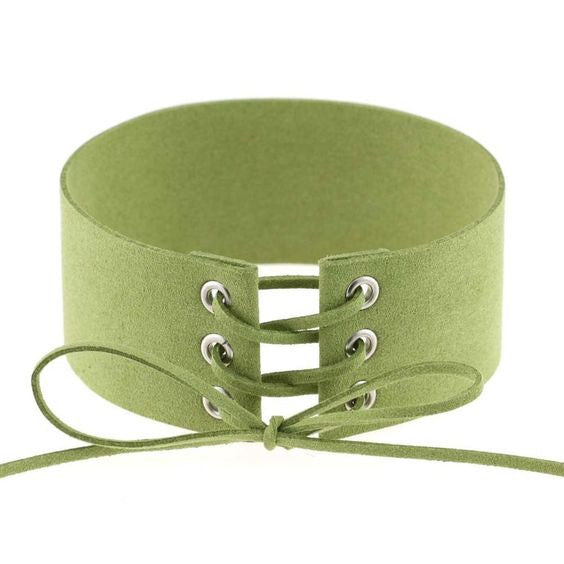 Lace Up Choker - Olive