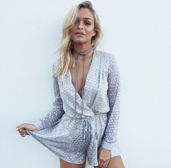 Surrounded Spot Playsuit - Silver