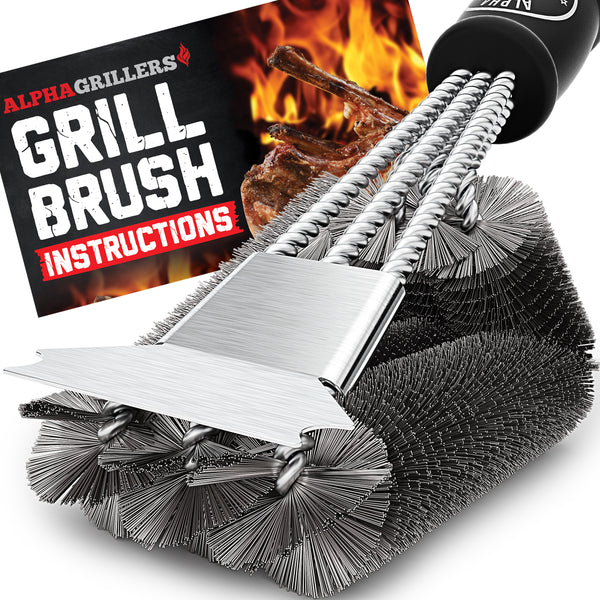 "Alpha Grillers 18"" Grill Brush with Scraper. Best BBQ Cleaner. Safe for All Grills. Durable & Effective. Stainless Steel Wire Bristles and Stiff Handle. Ideal for Barbecue Lovers"