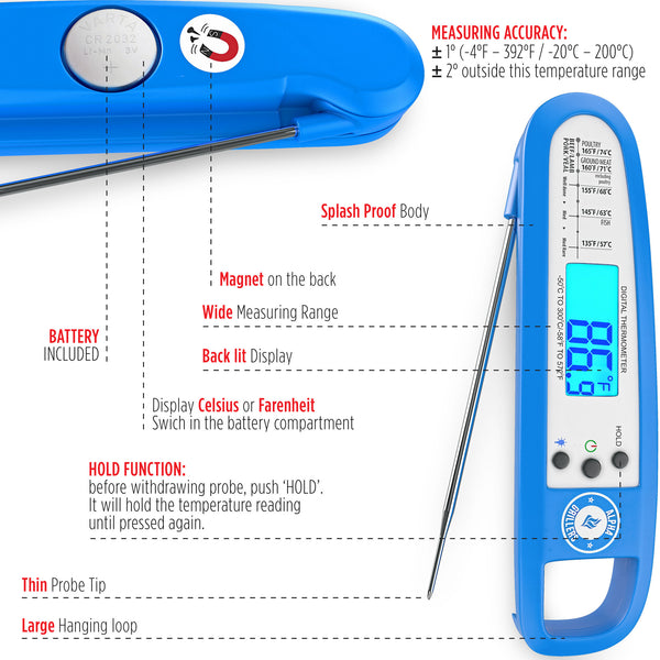 Instant Read Thermometer With Backlight