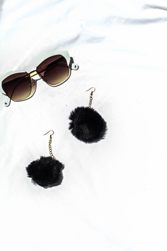 BAMBI DROPPED POM POM EAR RINGS - BLACK