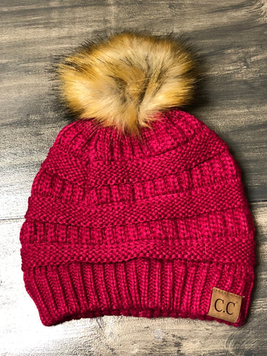 C.C. Beanies with Fauz Fur Pom Pom