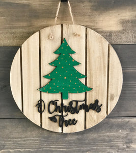 O' Christmas Tree Wooden Sign Cut-out 15""