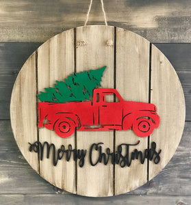 Merry Christmas Wooden Sign Cut-out 22""