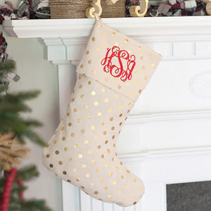 Classic Gold Dot Stocking with Personalization