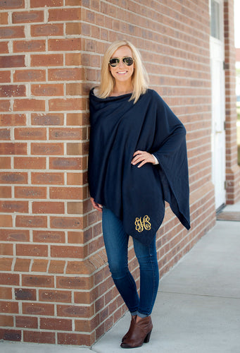 Navy Chelsea Poncho - Personalized