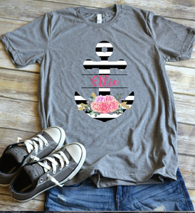 Personalized Striped, Floral Anchor - short sleeve