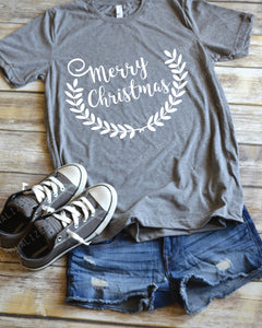 Merry Christmas with wreath - Holiday Shirt