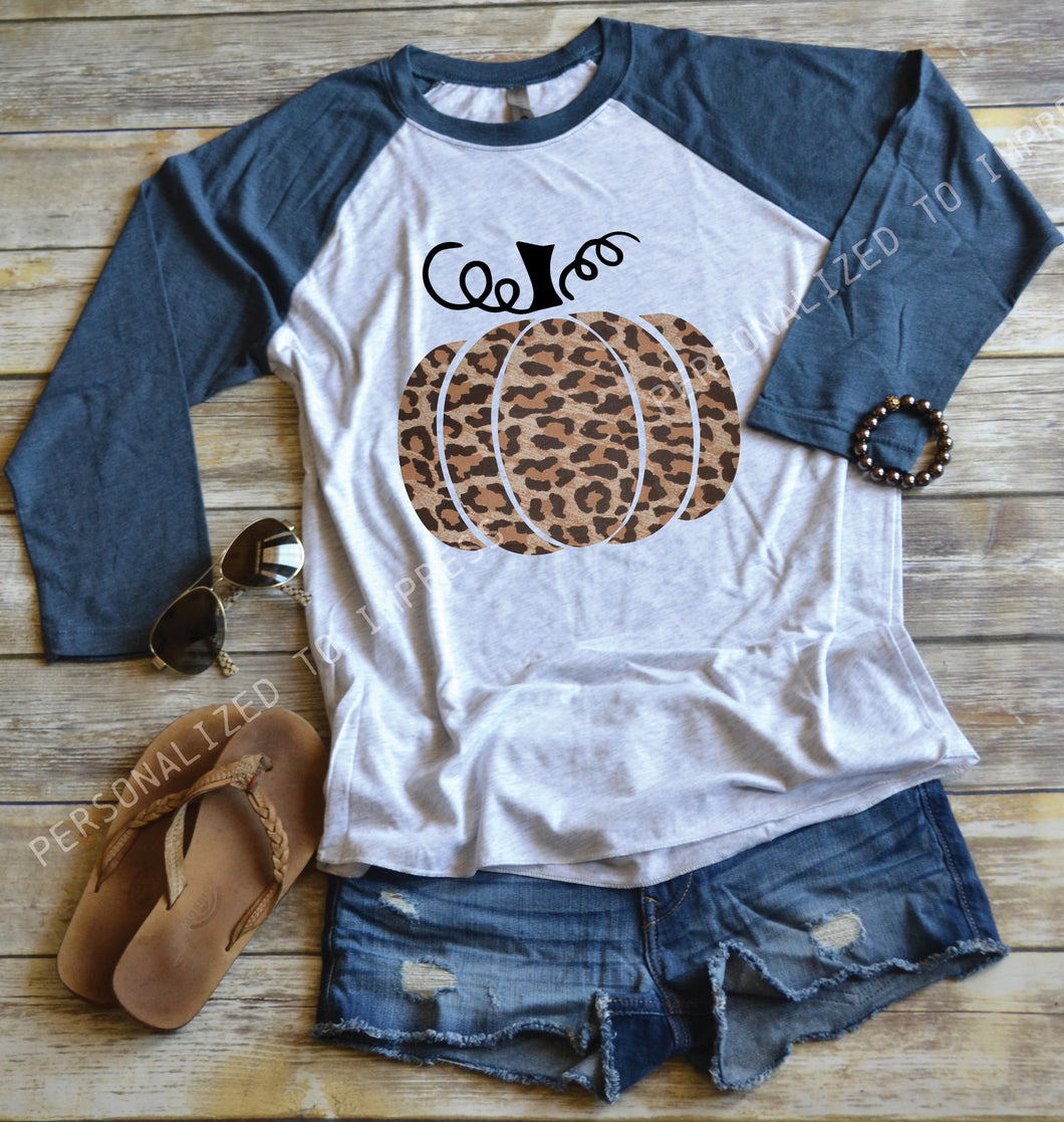 Leopard Pumpkin Design Baseball Top