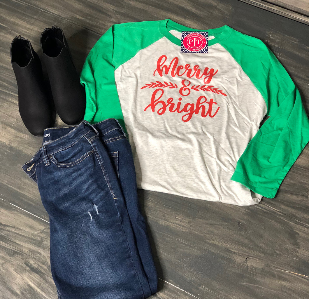 Merry & Bright on baseball shirt - Holiday Shirt