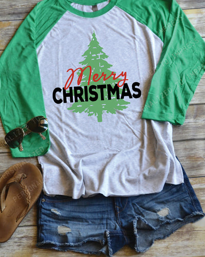 Merry Christmas with Tree - Holiday Shirt