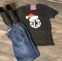Monogram with Santa Hat - Holiday Shirt short sleeve