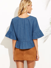 Chelsea Bell Sleeve Chambray Top