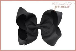 large noir black grosgrain ribbon bow hair clip