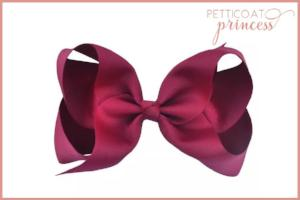 large burgundy cherise red grosgrain ribbon bow hair clip