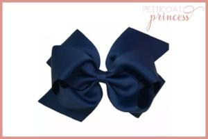large navy blue grosgrain ribbon bow hair clip
