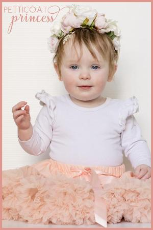 Sorbet dusty peach cream petticoat tutu with mini flower crown