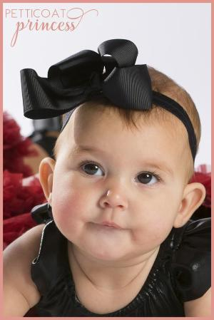 Noir black grosgrain ribbon bow headband accessory