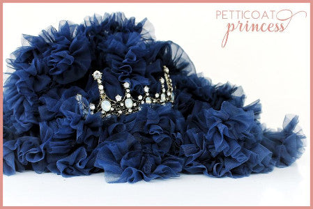 Navy blue tutu and mini princess crown