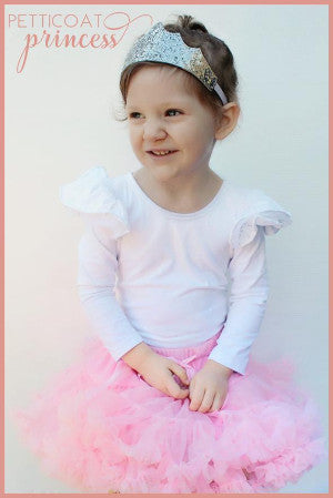 Musk baby pink petticoat tutu with silver mini tiara princess crown
