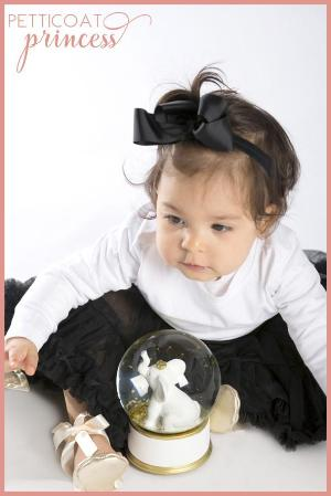 noir black petticoat tutu and grosgrain bow ribbon headband