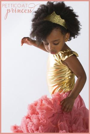 mini gold tiara and pink petticoat tutu skirt dancing