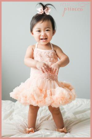 Champagne peach creme rosette pettidress tutu dress