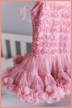 Vintage rose dusty pink rosette pettidress tutu dress