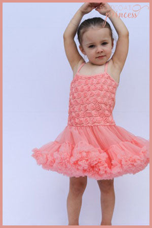 coral pink petticoat tutu dress with rose detail