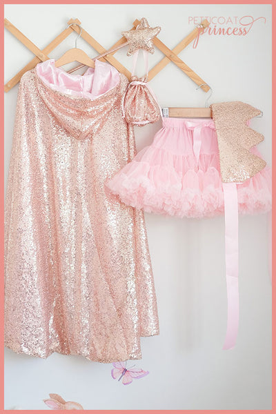 Rose Gold Sequin 4 Piece Cape Set