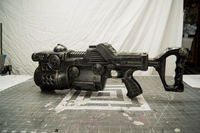 Prop sci-fi gun rifle cosplay movie costume prop hand painted gritty awesome great in pictures or video.