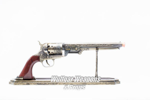 1:1 Scale Hand Painted Steampunk Prop Pistol Revolver Gun - Working Trigger - Stand Included