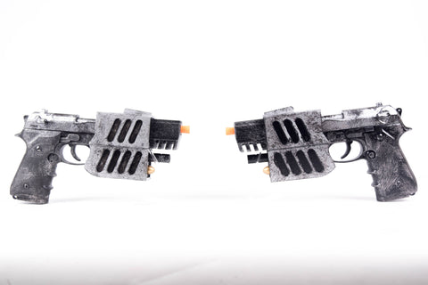 Pair of Dual Blade Pistols Prop Replica (Blade Movie) - Wulfgar Weapons & Props
