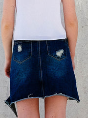 The Lucia Hand Beaded Denim Skirt