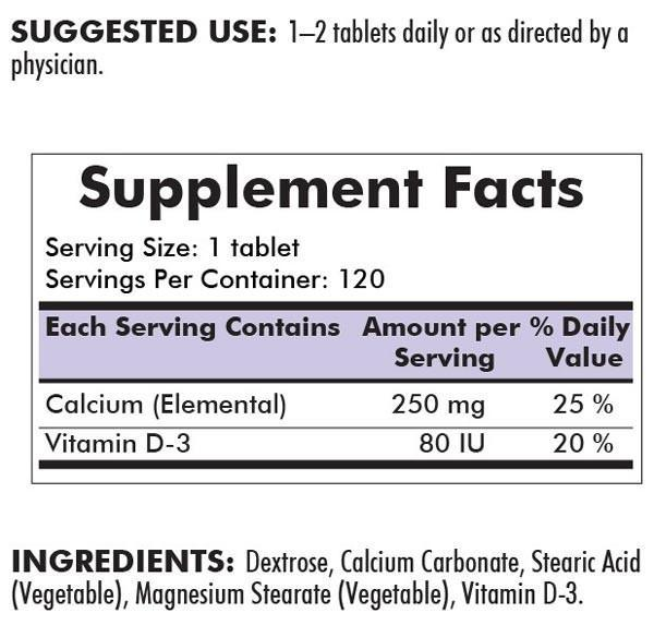 Kirkman Calcium 250 mg with Vitamin D-3 Chewable Tablets