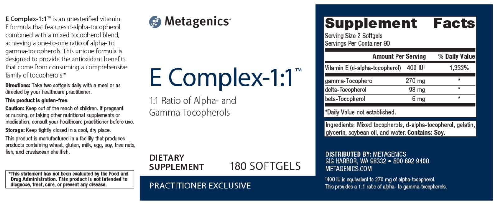 Metagenics E Complex-1:1