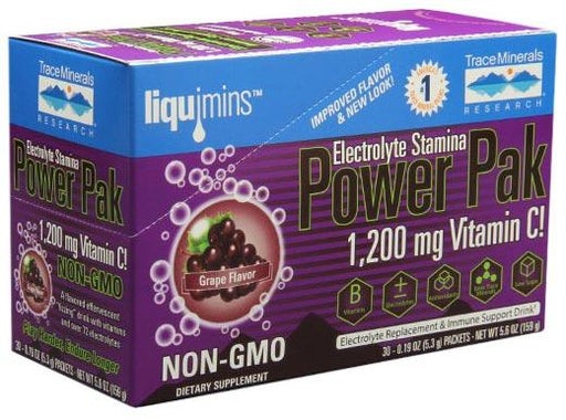 Trace Minerals Research Non Gmo Electrolyte Stamina Power Pak Grape