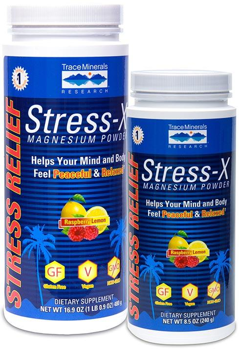 Trace Minerals Research Stress-X Magnesium Powder Rasberry Lemon