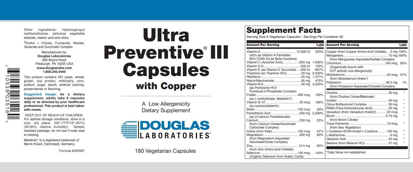 Douglas Laboratories Ultra Preventive III with Copper Capsules