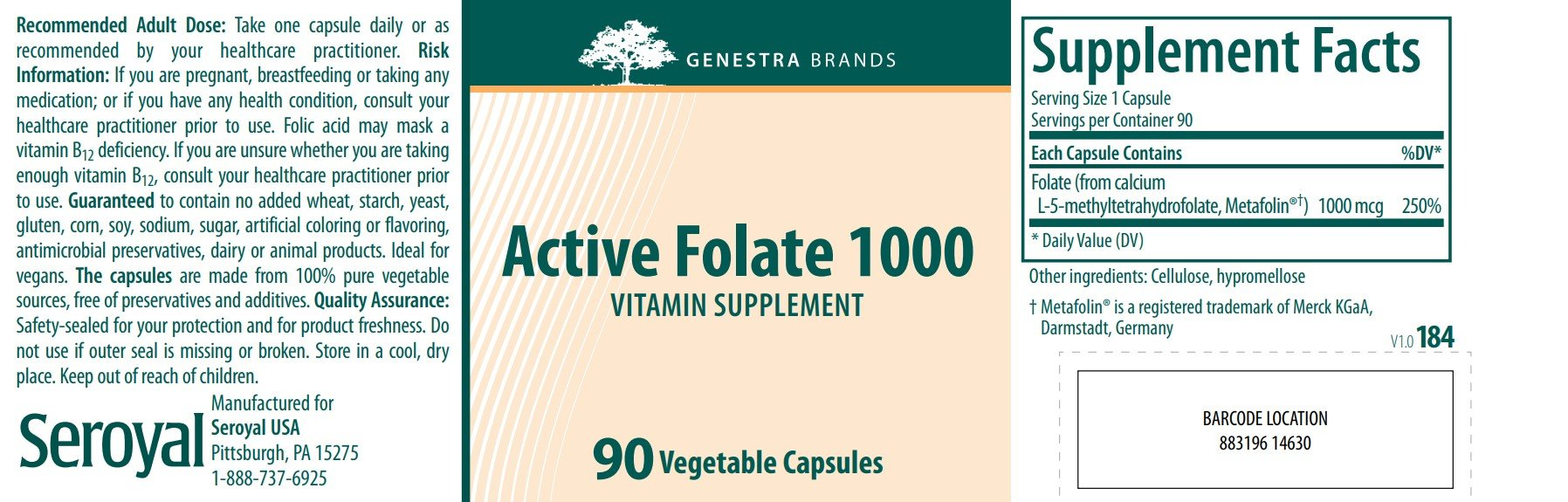 Genestra Brands Active Folate 1000