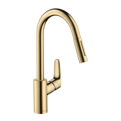 HANSGROHE FOCUS PULLOUT KITCHEN MIXER - BRUSHED BRASS