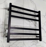 ELITE CUBE HEATED TOWEL LADDER 600X650MM BLACK