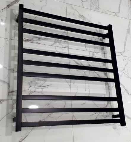 ELITE SQUARE HEATED TOWEL LADDER 900X850MM BLACK