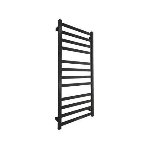 ELITE SQUARE HEATED TOWEL LADDER 1200X500MM BLACK