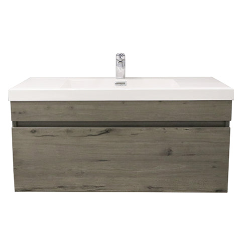 ELITE CUBE 1000 SINGLE DRAWER WALL HUNG STOCK VANITY & TOP, 4 COLOURS