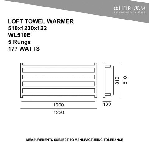 HEIRLOOM LOFT HEATED TOWEL LADDER 510X1230MM